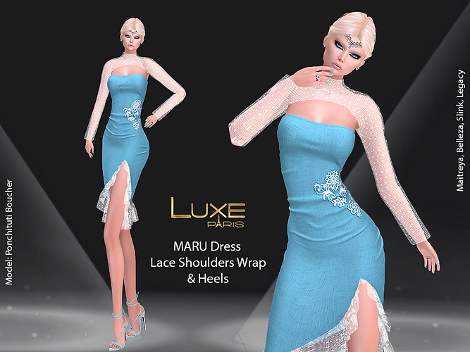 LUXE Paris MARU Dress Lace Shoulders Wrap Heels.png