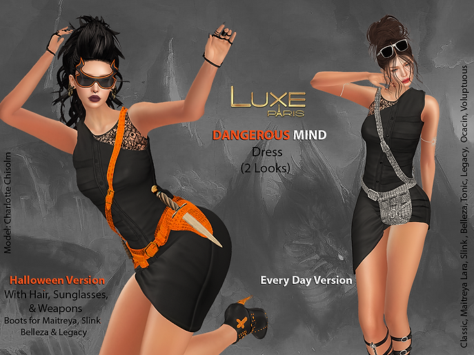 LUXE Paris DANGEROUS MIND Dress with Hair, Sunglasses, Weapons and Boots.png