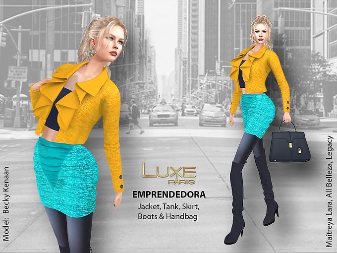 LUXE Paris EMPRENDEDORA Jacket Tank Skirt Boots Handbag.png