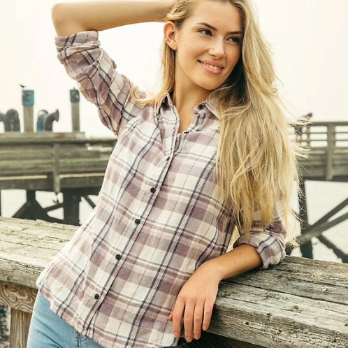 Thread & Supply: Valley Plaid Plum Top
