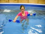 Therpy exercies in a warm water therapy pool