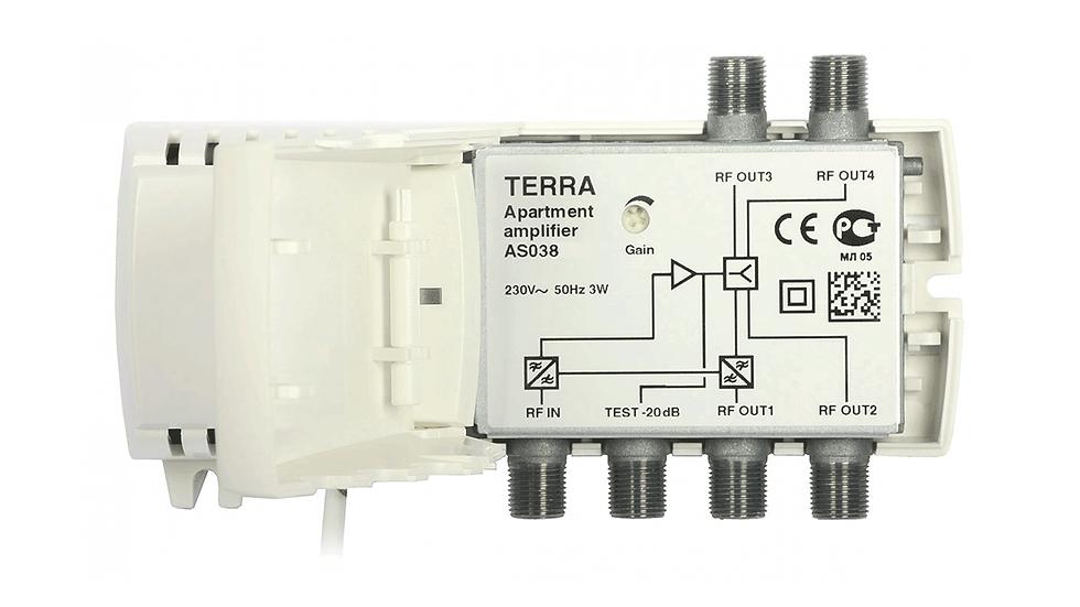Усилитель AS038, 4 выхода, 103дБмкВ, 47-862МГц, 20дБ