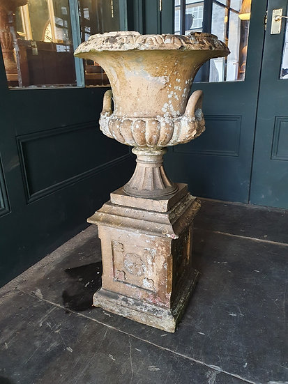 Buff Teracotta Urn on Plinth SOLD