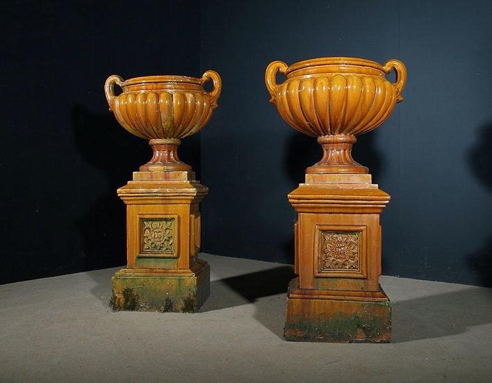 Pair of Victorian Glazed Urns SOLD