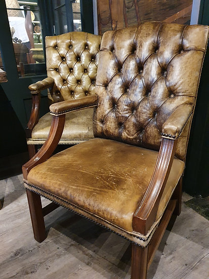 Large Pair of Leather Gainsborough Chairs SOLD