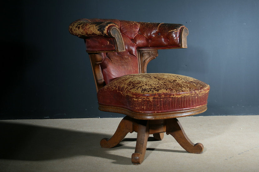 19th Century Revolving Leather Library SOLD