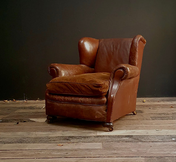 Large Leather Wing Chair
