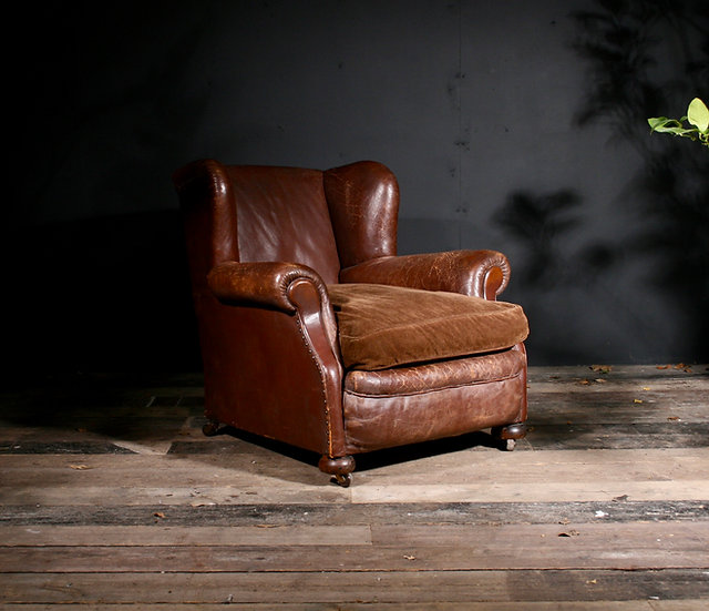English Leather Wing Chair SOLD