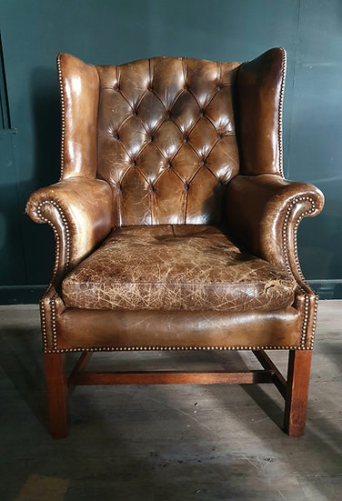 Large Leather Wing Chair SOLD