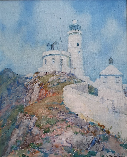 Watercolour 'Start Bay Lighthouse' Albert Foweraker