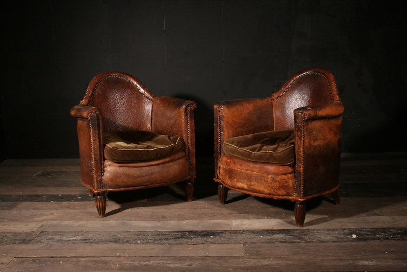 Pair of Leather Club Chairs SOLD