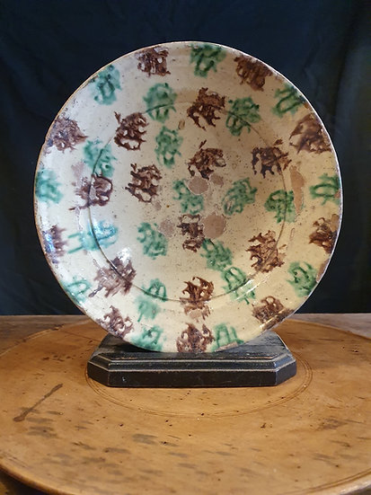 Large Antique Sponge Decorated Bowl