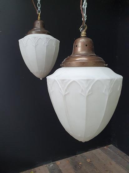 Large Pair Gothic Glass Lanterns SOLD