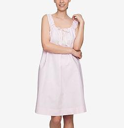 Sleeveless Nightie Pink Oxford Stripe_2a
