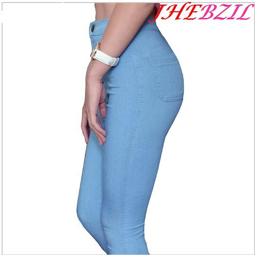 Moda Jeans Mujer Pantalones Lapiz Pantalones De Cintura Alta Delgada Jhebzil