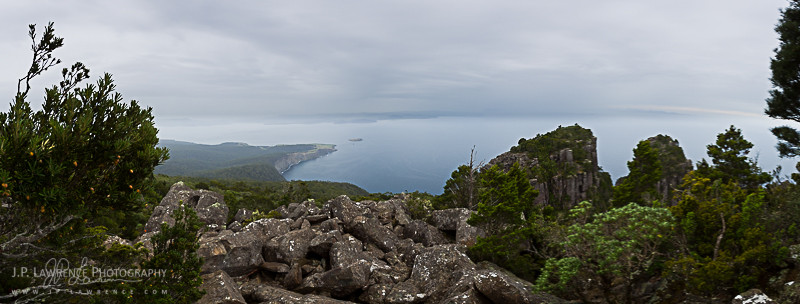 View from the top of Bishop and Clerk on Maria Island National Park