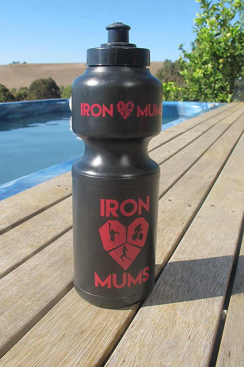 Water Bottle - Black and dark pink logo