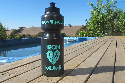Water Bottle - Black and Mint Green logo