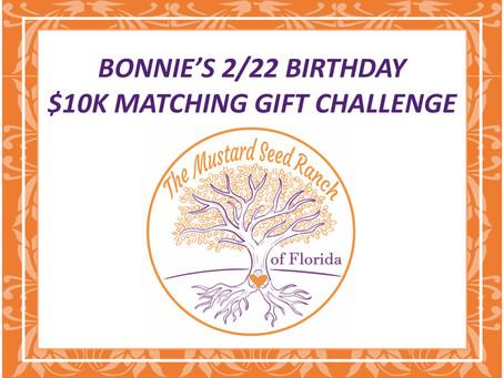 2/22 - $10K MATCHING GIFT CHALLENGE
