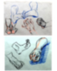 3. Hands and feet, charcoal & pastel (2)