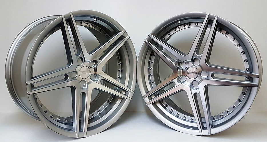 """22"""" staggered Rennen CSL series 3 for many vehicles silver polished"""