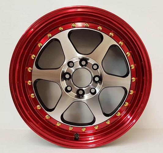 A43320 Black Machined & Red Lip