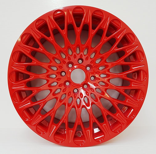 "Candy Red 17"" wheels from DGT 4/100/114 mesh concave face view"