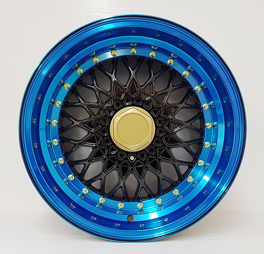 """Black with blue anodised lip wheels 4/100/114 16 & 17"""" wheels face view"""