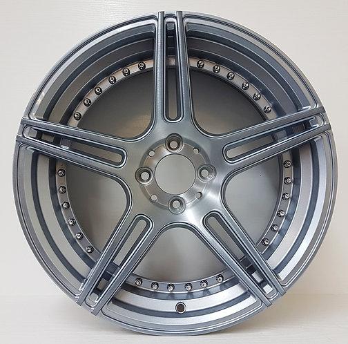 A1262 Silver Polished & Gunmetal Brush Effect