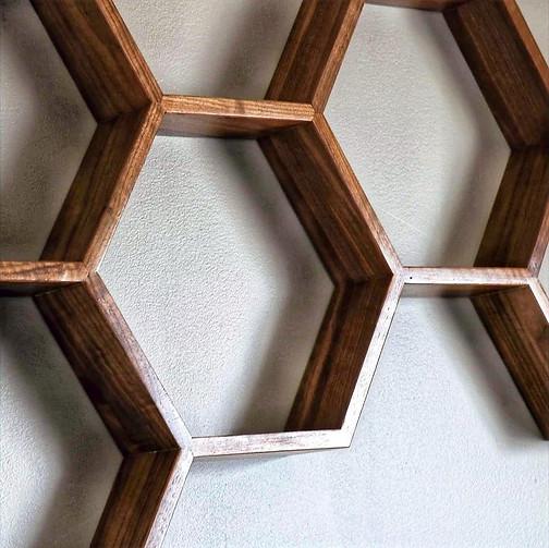 Walnut Hexagon shelf