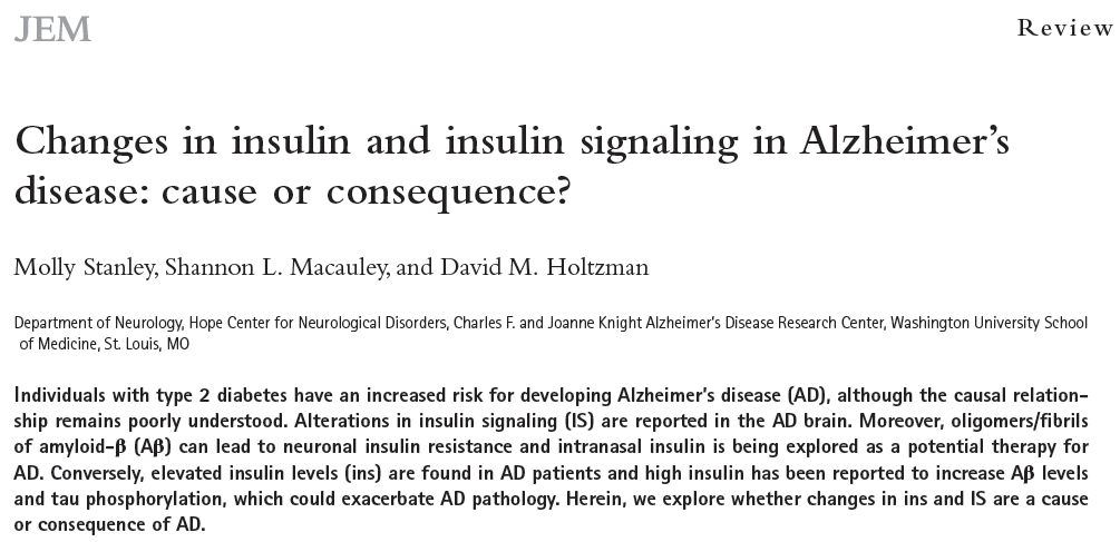 Insulin, insulin signaling, and AD