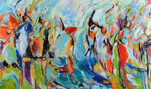 Life, vivid landscape, figures immersed