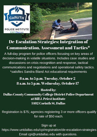 De-Escalation Training hosted by Dallas County Community College in October