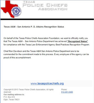 TAMU-San Antonio PD achieves TPCA Recognized Status