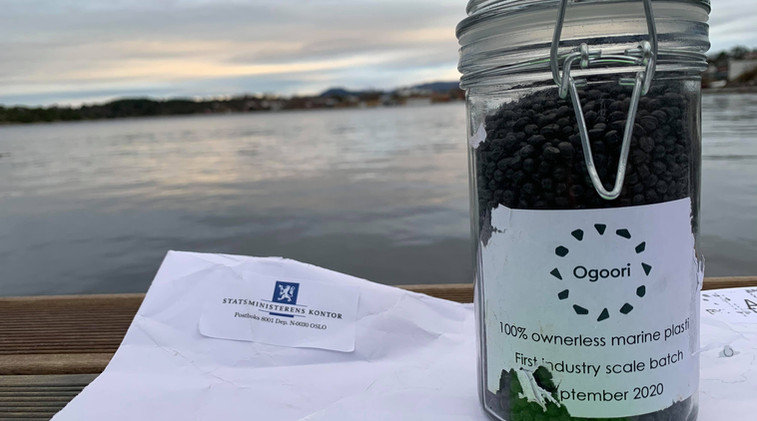The jar of Ogoori marine plastic granulate that Norwegian PM Erna Solberg held onto for a short period and then sent back to us in 2021.
