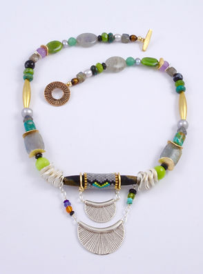 Hill Tribe Silver and Handwoven Seed Bead Necklace