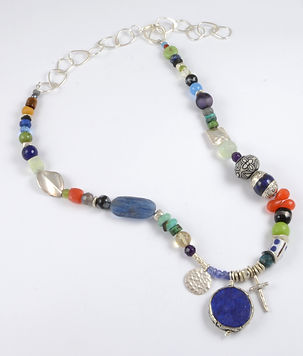 Lapis and Cross Necklace