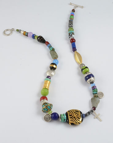 Ceramic and Multi-Stone Necklace