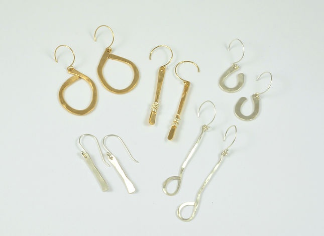 Hammered Sterling and Gold Filled Earrin