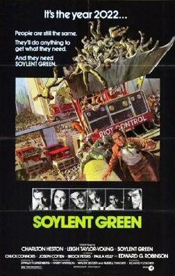 Soylent Green stars Charleton Heston, Leigh Taylor-Young and Edward G. Robinson. This film was a huge hit when it released in 1973, and, was described as a dystopian thriller film directed by Richard Fleischer.