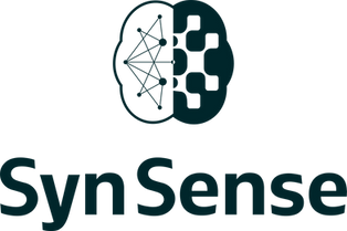 Black SynSense logo with a brain icon