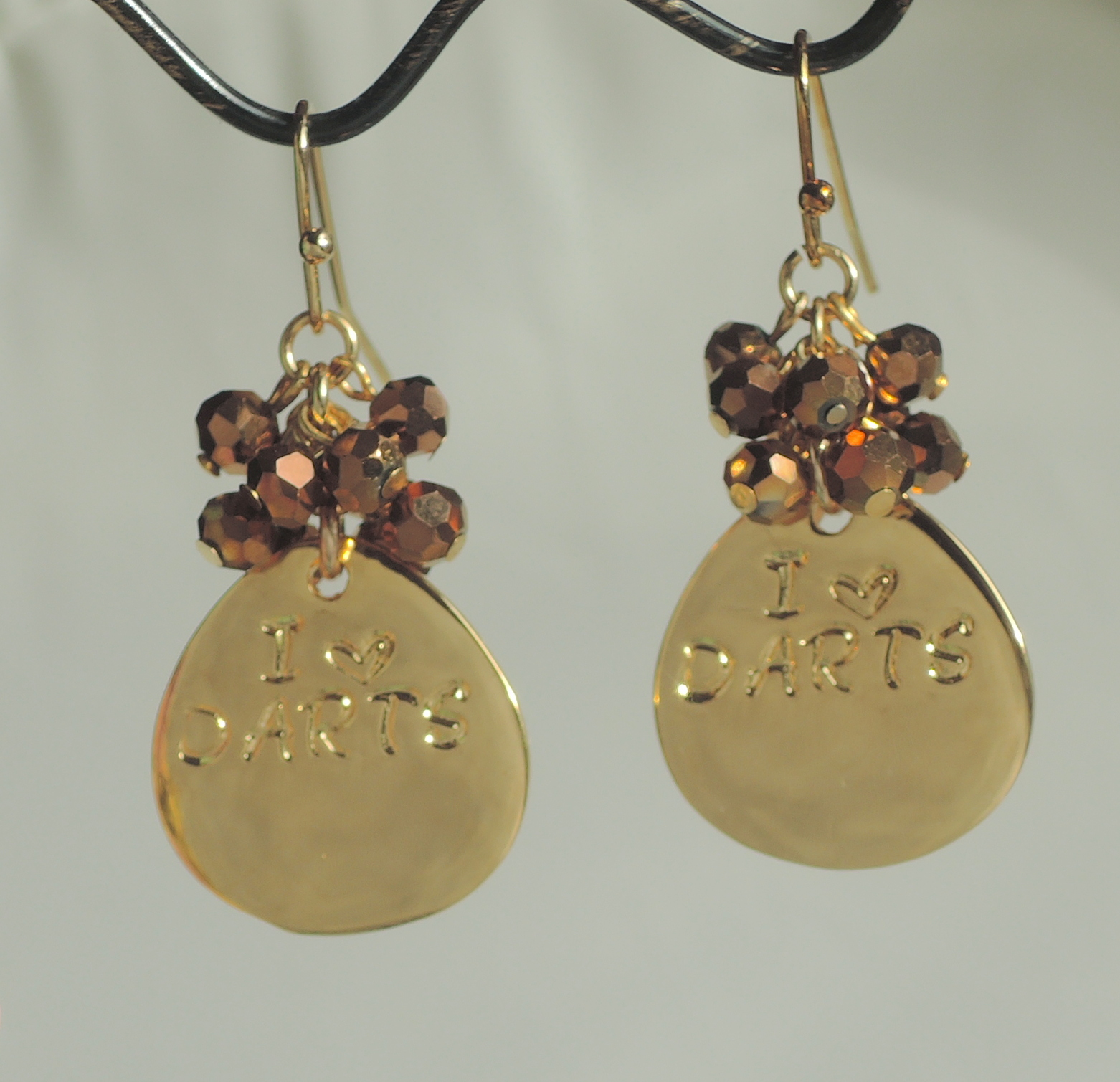 Hand Stamped Gold Plated I love Dart