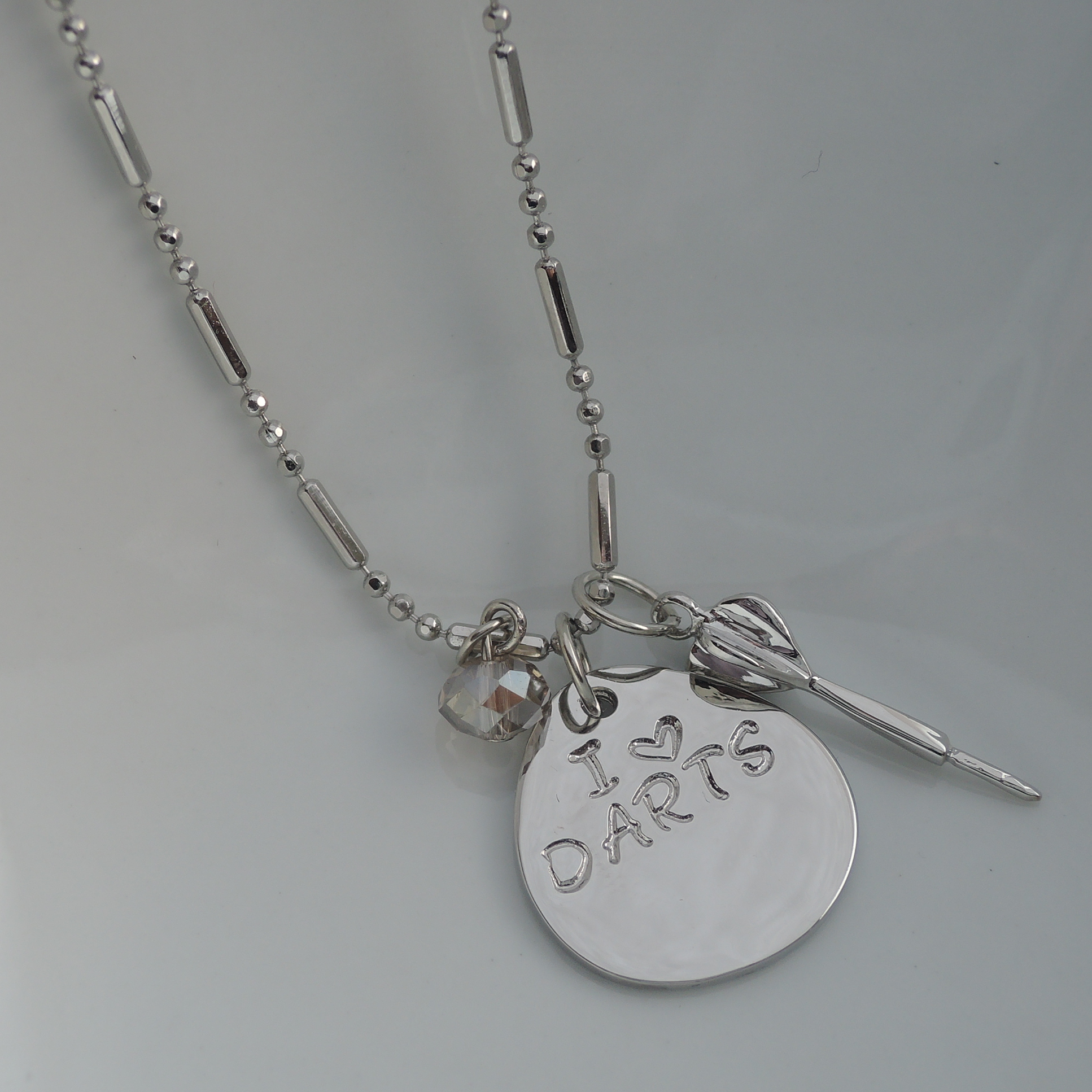 Hand Stamped I Love Darts 16''  Char