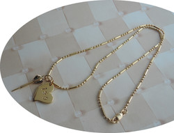 Hand Stamped Heart charm With Mini D