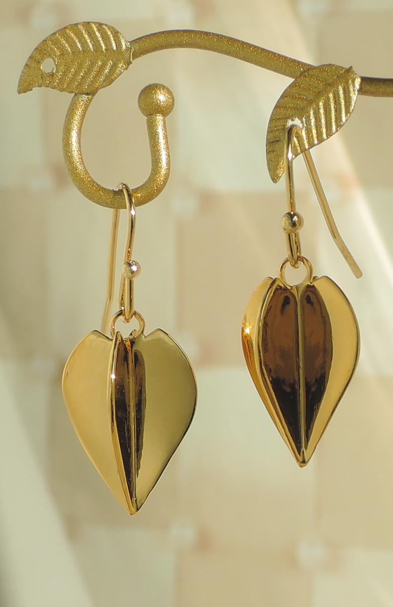 Gold Plated Dart Flight charm Earrin