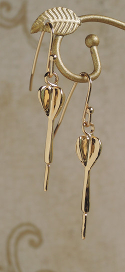 Gold Plated Dart Charm Drop Earring