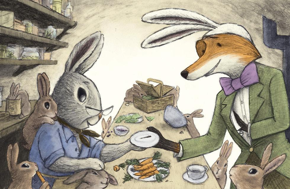 Fox Rabbit Grandma bunny and the thorn .