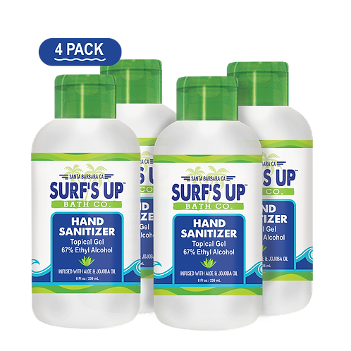 Surf's Up Super Hydrating Hand Sanitizer Topical Gel | 4-PACK 8OZ