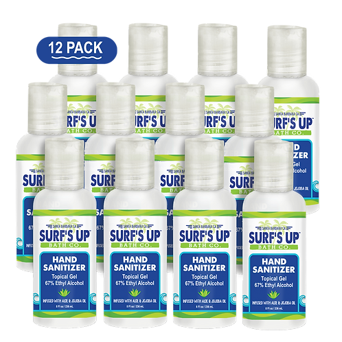 Surf's Up Super Moisturizing Hand Sanitizer Topical Gel | 12-PACK 2 OZ