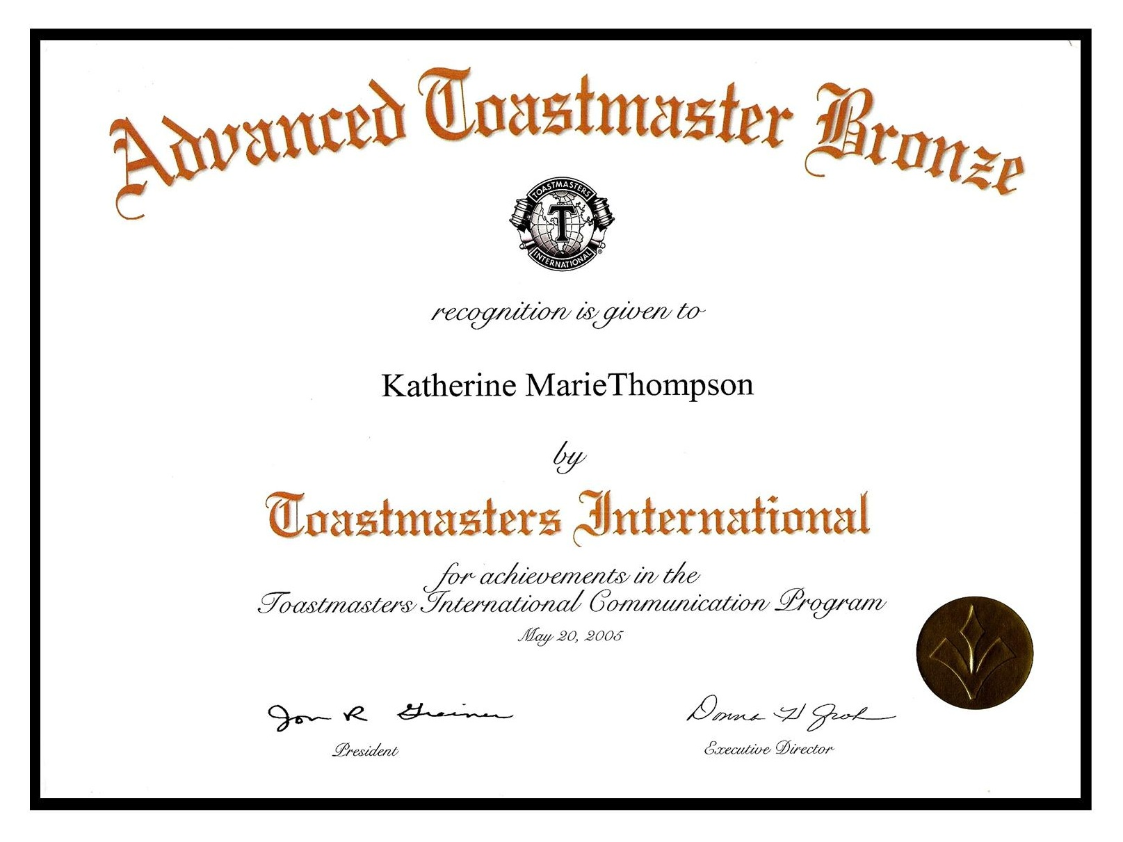 Toastmasters - Advanced Bronze